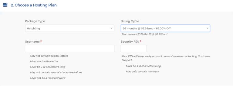 best hosting site hostgator - choose a hosting plan