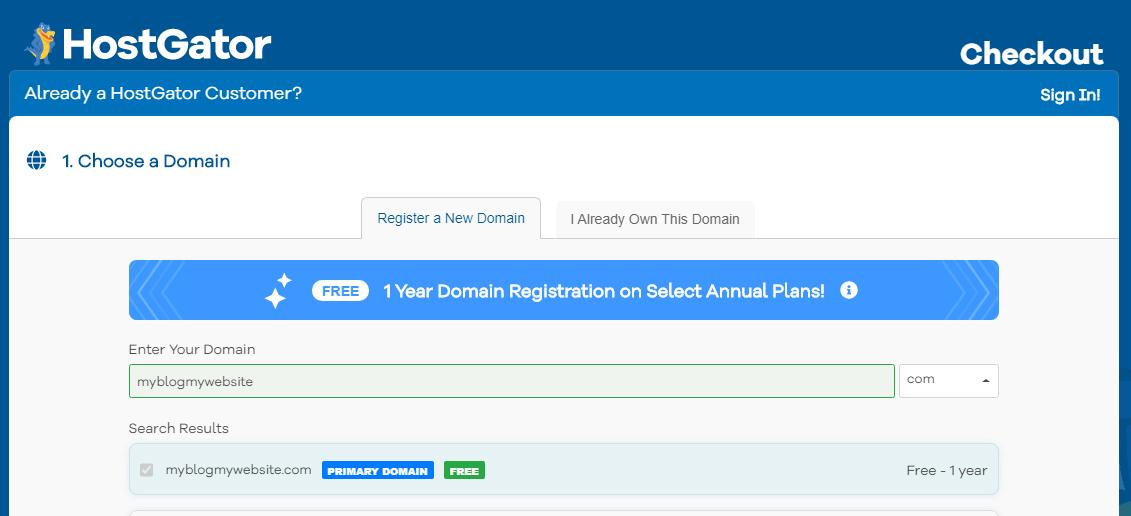 best hosting site hostgator - choose domain name free