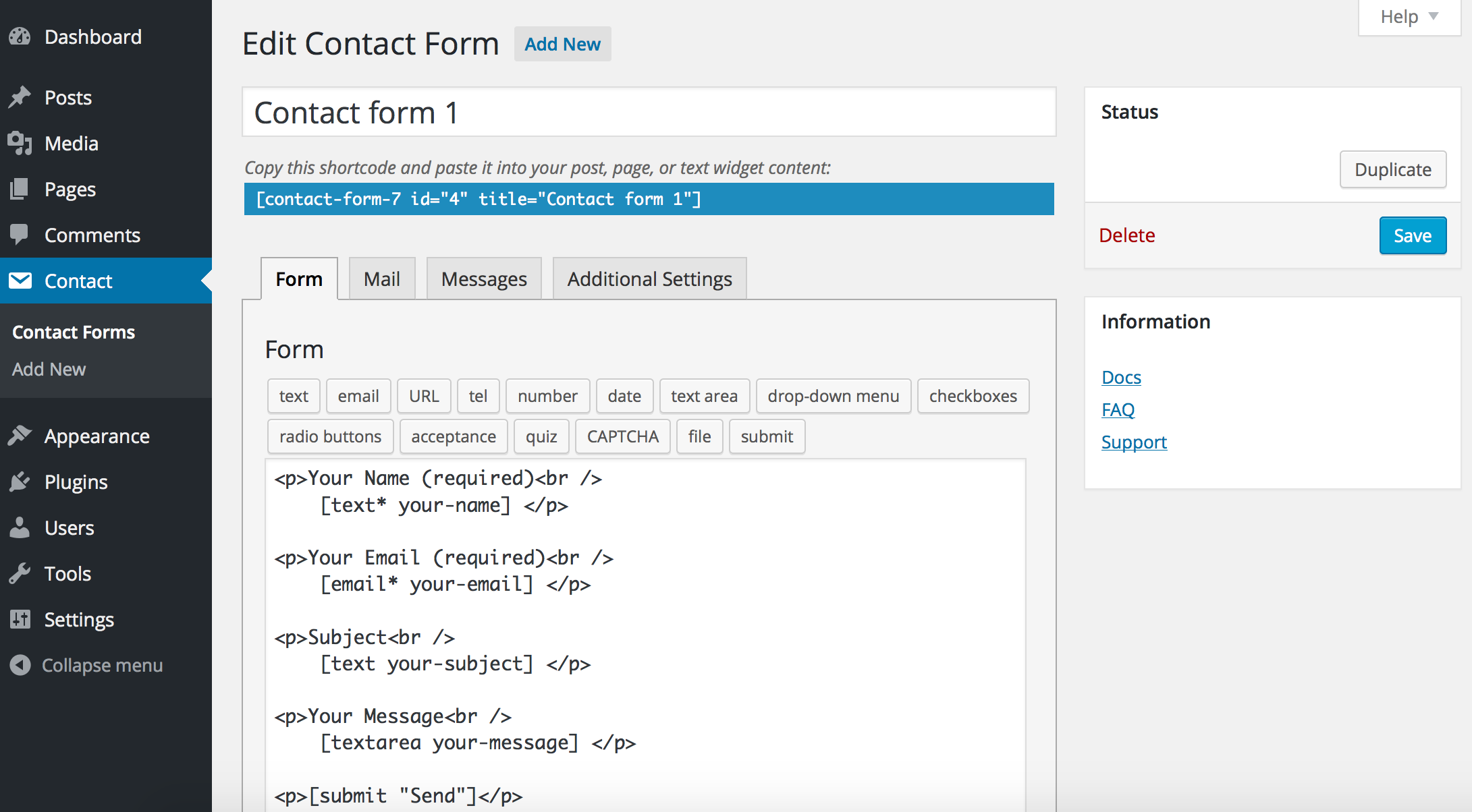 wordpress contect form